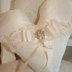 Vintage heart dupion and lace ring cushion