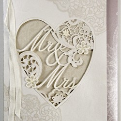 Mr & Mrs wedding card heart with lace