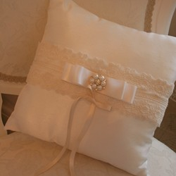 Vintage square dupion and lace ring cushion