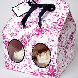 Pink Toile Cupcake Box